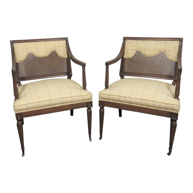 Louis XVI Style Caned Back Upholstered Armchairs - a Pair For Sale