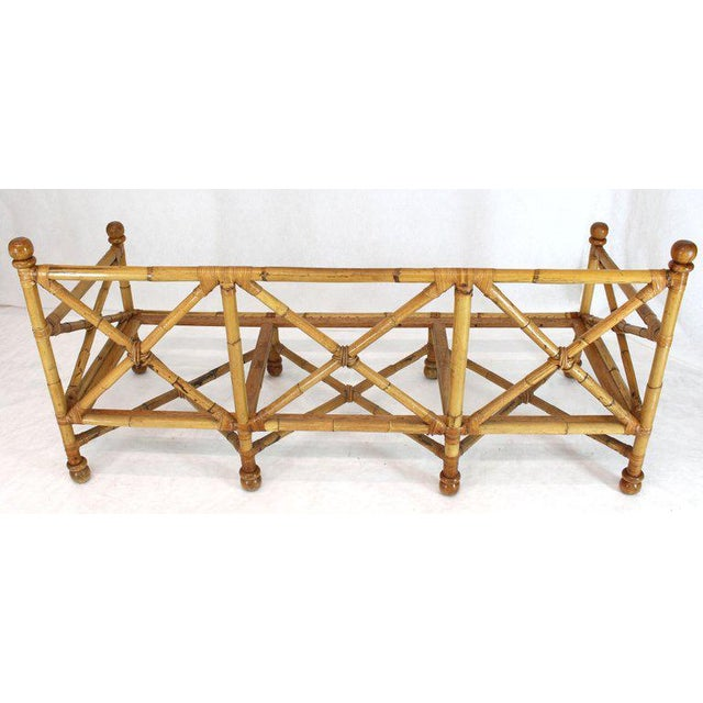 Mid-Century Modern Heavy Gage Thick Bamboo and Leather X-Base Sofa Frame For Sale - Image 3 of 12