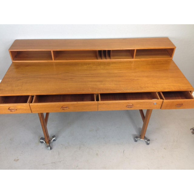 Jens Quistgaard Flip-Top Console Desk in Teak For Sale - Image 5 of 9