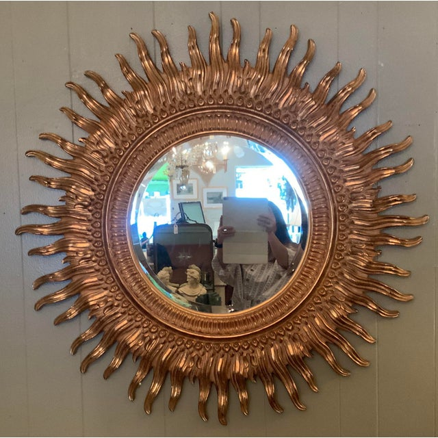 1990s Vintage Gilded Starburst Mirror For Sale - Image 5 of 5