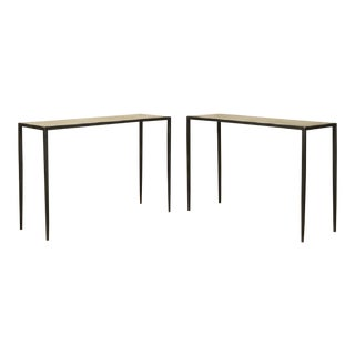 20th Century Modern Parchment and Iron Consoles - a Pair For Sale