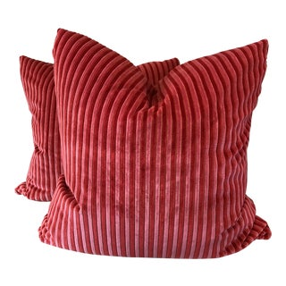 """Pink and Red Cut Velvet Stripe 22"""" Pillows-A Pair"""