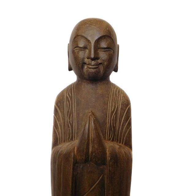 Chinese Monk Lohon Stone Statue - Image 5 of 7