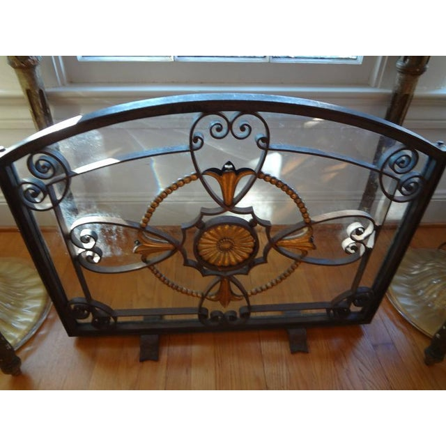 Gold French Art Deco Wrought Iron Fireplace Screen by Szabo For Sale - Image 8 of 9