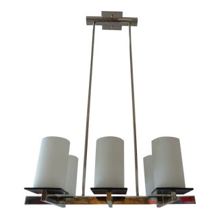 Rectangular Chandelier Fixture, Chrome 6-Light Modern Hanging Ceiling Fixture With Glass Shades, For Sale