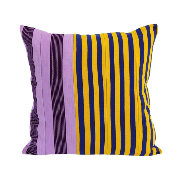 African Vintage Purple, Blue & Yellow Striped Yoruba Nigerian Pillow For Sale - Image 3 of 3