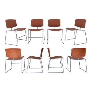 1970s Steelcase Max Stacker Chrome Chairs - Set of 8 For Sale
