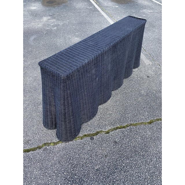 """French Natural Rattan Console Table 79"""" Long in Black For Sale - Image 3 of 11"""