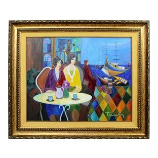 1960s Mid Century Modern Itzchak Tarkay Framed Original Acrylic Painting Cafe by Bay For Sale
