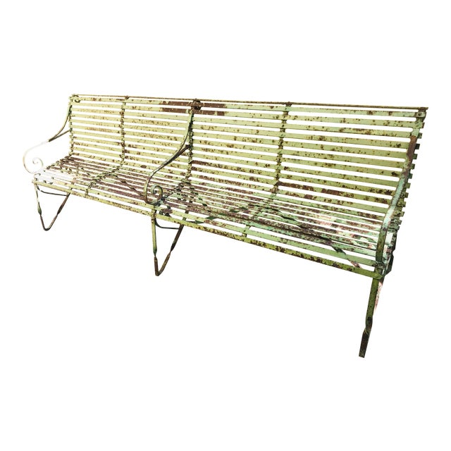 19th Century Antique French Wrought Iron Green Garden Park Restaurant Bench For Sale
