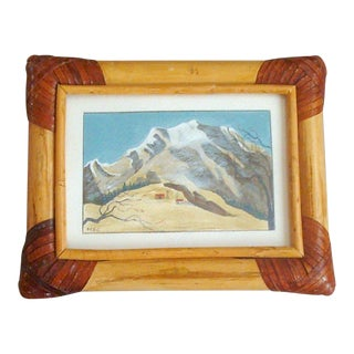 Miniature Winter Mountain Snowscape Painting For Sale