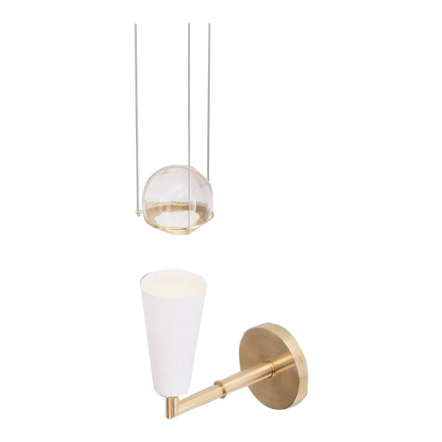 Contemporary Grace White Porcelain Shade and Suspended Glass Sphere Brass Sconce For Sale