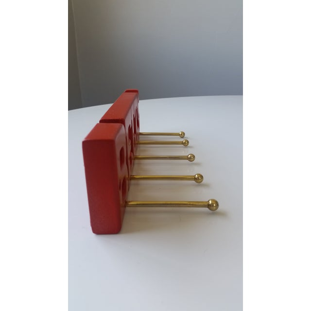 "Americana Vintage Red ""Belts"" Rack For Sale - Image 3 of 5"