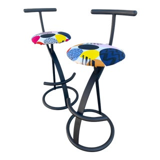 1980s Vintage Retro Barstools- A Pair For Sale