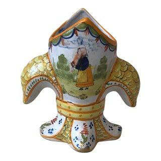 Small Fleur De Lis Faience Vase, Circa 1900 For Sale
