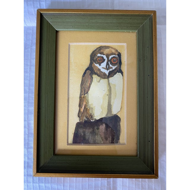 1970s Frog and Owl Watercolor Paintings, Framed - a Pair For Sale - Image 4 of 5
