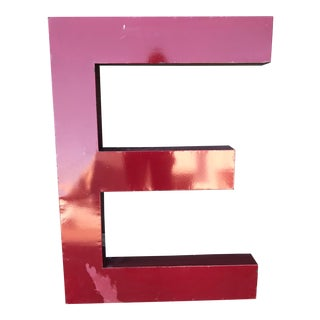 "Large Vintage Red Enamel ""E"" Building Signage For Sale"