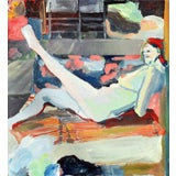"Image of 1979 ""White Foot"" Figurative Reclining Nude Oil Painting by Patricia Gren Hayes For Sale"