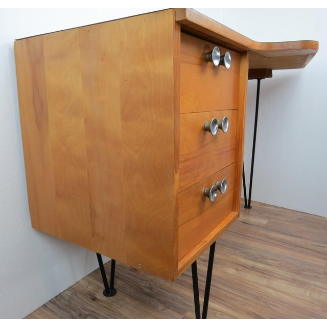 Contemporary 1950's Mid-Century Modern Mengel Writing Desk With Hairpin Legs For Sale - Image 3 of 13