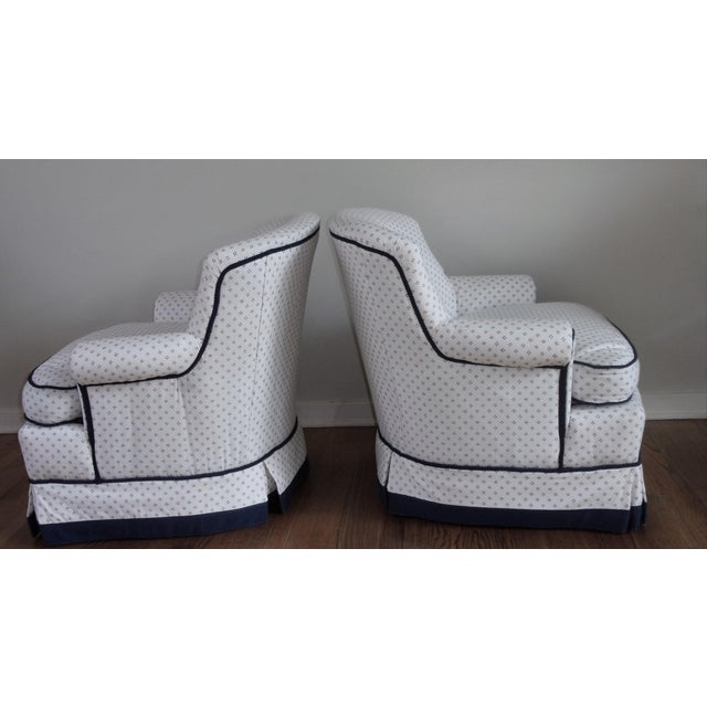 Late 20th Century Custom Swivel Chairs, White & Navy, Pair For Sale - Image 5 of 10