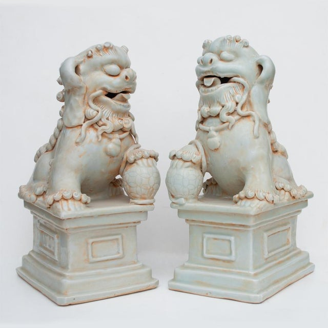 20th Century Large Chinese Celadon Foo Lions - a Pair For Sale - Image 10 of 13