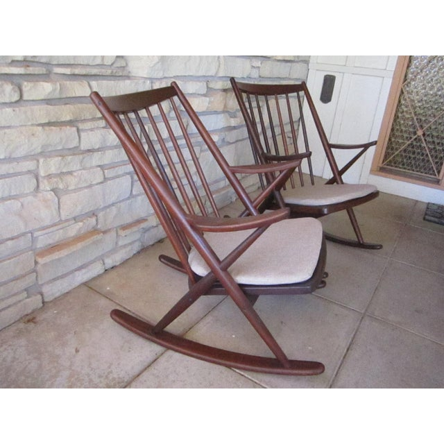 Mid-Century Modern Frank Reenskaug for Bramin Mobler Rosewood Danish Rocking Chairs For Sale - Image 3 of 8