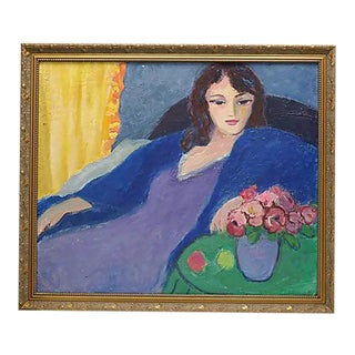 Mid-Century French Oil Painting of a Woman