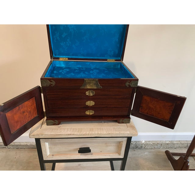Brown Stunning Vintage Asian Silk Lined Jewelry Box With Flame Mahogany Inlay and Etched Brass Trim and Lantern Pulls For Sale - Image 8 of 13
