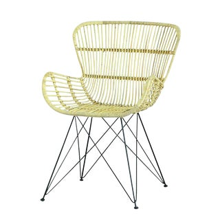 Rattan on Iron Metal Base Occasional Wing-Back Armchair For Sale