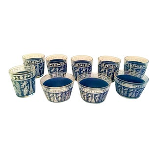 Assorted Jeannette Glass Company Mid-Century Corinthian Pattern Blue & White Glasses - Set of 9 For Sale