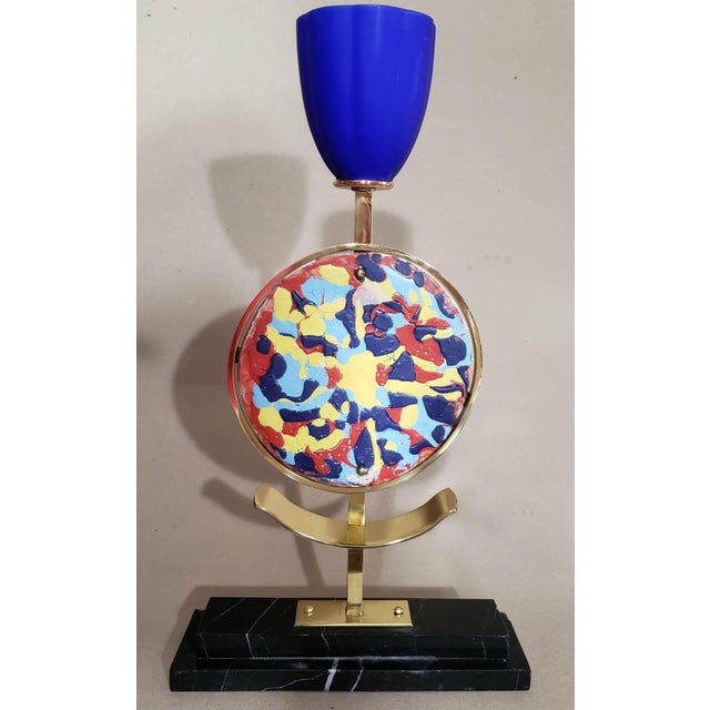 Mid-Century Modern Vintage Marble & Ceramic Table Lamp For Sale - Image 12 of 13