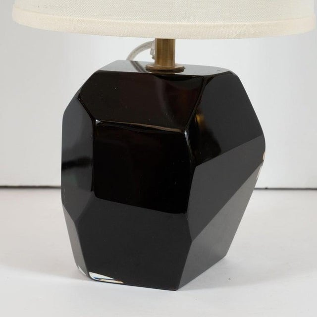 Modernist Dark Sable Handblown Murano Glass Faceted Lamps - a Pair For Sale - Image 4 of 5