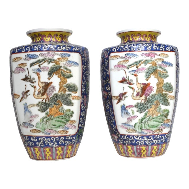 Antique Chinese Late Qing Dynasty Famille Rose Vase Pair For Sale