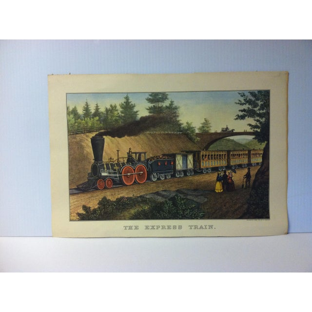 "Currier & Ives Color Print, ""The Express Train"", 1956 For Sale - Image 4 of 4"