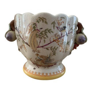 Asian Style Ceramic Bird Decorated Cachepot For Sale