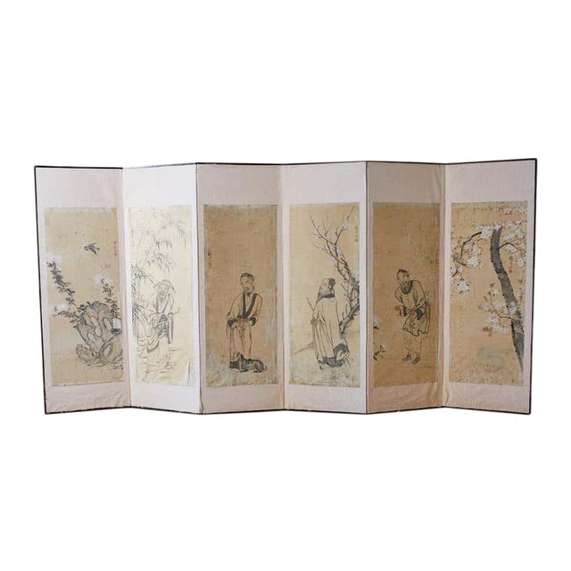 Korean Six-Panel Screen of Legendary Chinese Figures For Sale