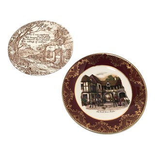 Pair of Early 20th/Mid-Century Staffordshire Ceramic Plates For Sale