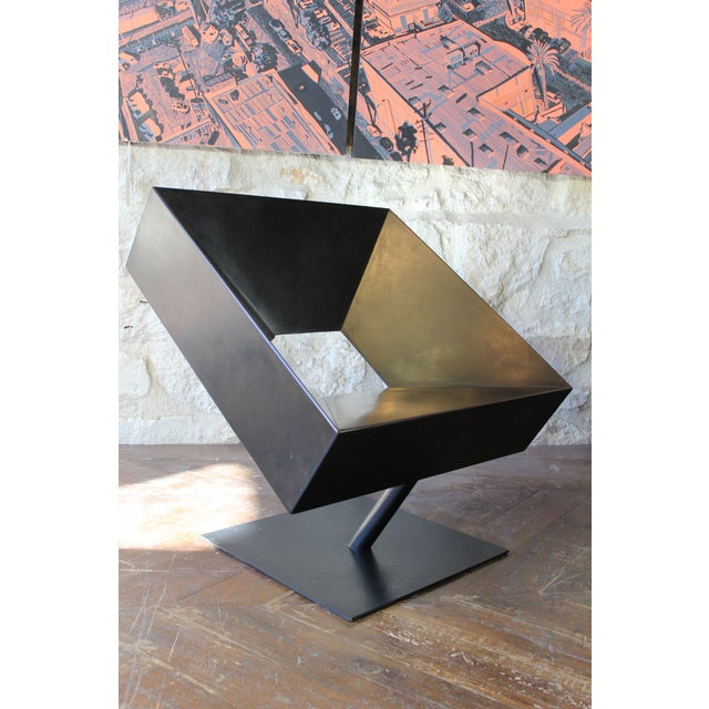 "Stephane Ducatteau ""Fauteuils Cadre"" Steel Framed Chair For Sale - Image 4 of 8"