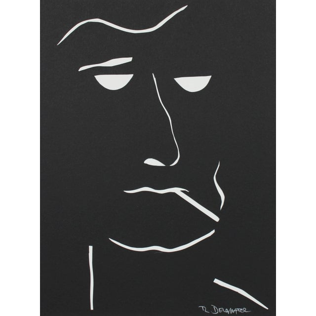 "Contemporary Rob Delamater ""The Moderns VIII"" Monochromatic Portrait Collage, 2018 For Sale - Image 3 of 3"