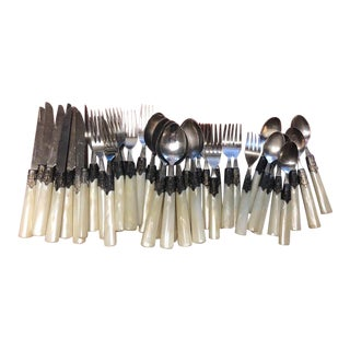 1980s Faux Mother of Pearl Cutlery, 31 Pieces For Sale