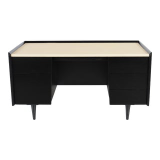 Ebonized Jens Risom Desk With Leather Top For Sale