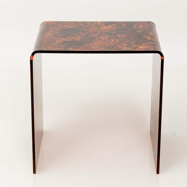 Mid-Century Modern Faux Tortoise Lucite Tables For Sale - Image 3 of 13