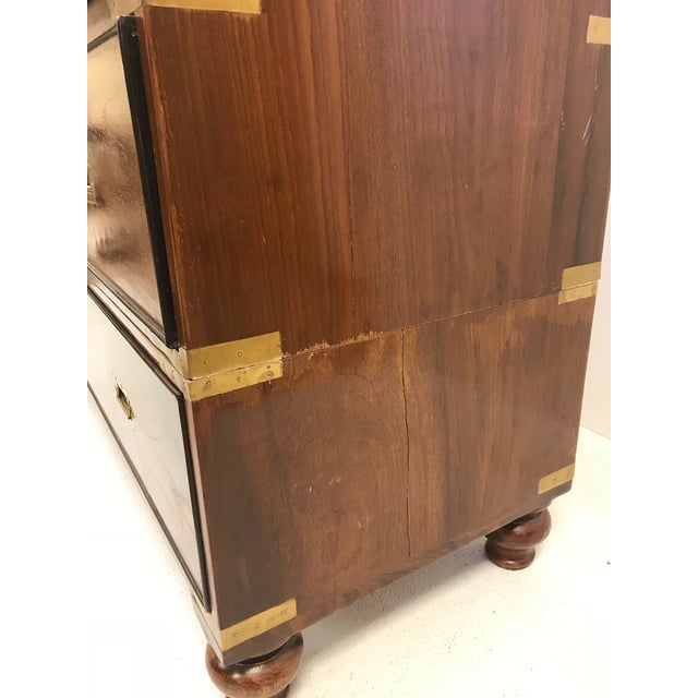 Pair of Antique Campaign Style Chest of Drawers For Sale - Image 4 of 9