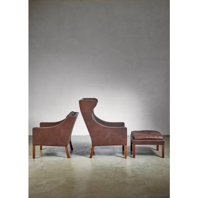 Wood Borge Mogensen Brown Leather Wingback and Lounge Chair With Ottoman For Sale - Image 7 of 7