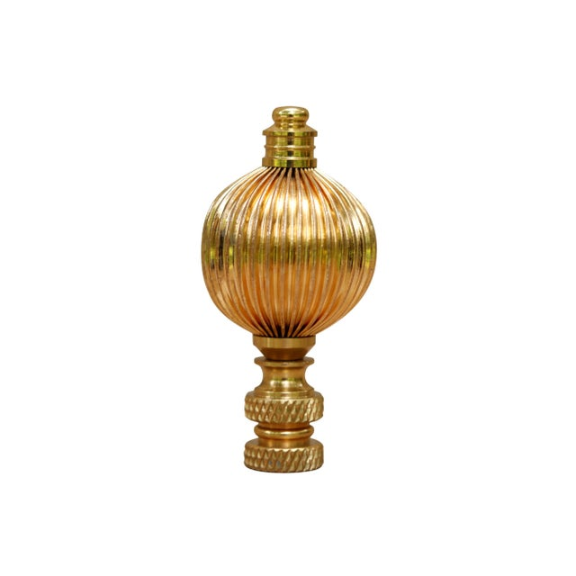 A pair of ribbed brass ball finials. Fits a standard size lamp harp. Measurements per finial. I have more lamp finials for...