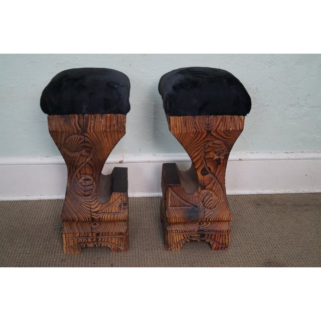 Vintage 1970s Witco Carved Tiki Bar Stools -- A Pair - Image 3 of 10