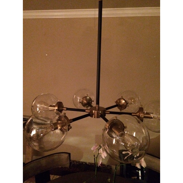 6 Light Glass Orb Chandelier For Sale In Sacramento - Image 6 of 7