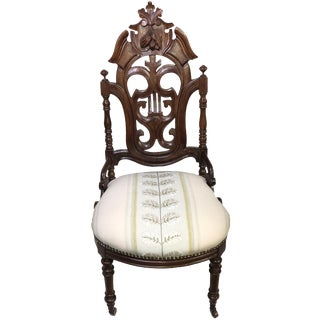 Fully Restored Antique Gothic Revival Carved Walnut Hall Chair For Sale