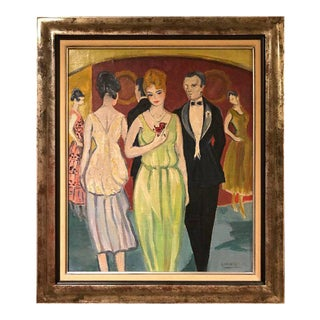 "French ""Rene Mendes of the Ballroom"" Oil on Canvas Painting"