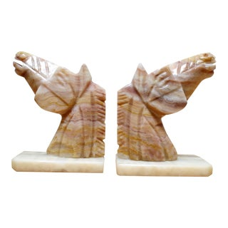 Solid Onyx Horse Head/Mustang Bookends - a Pair For Sale